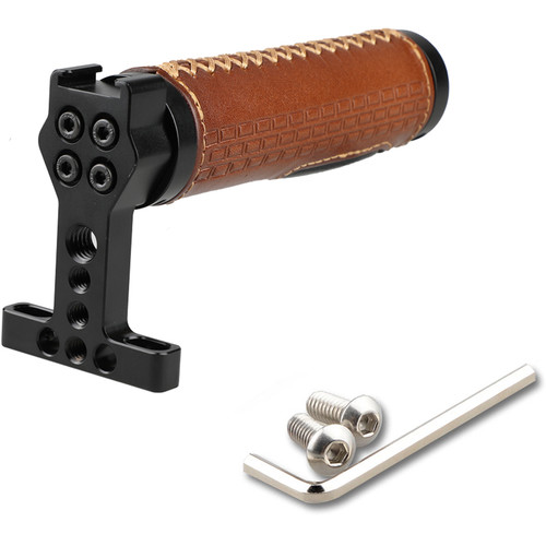 """CAMVATE Top Handle with 1/4""""-20 Mounting Holes Screws for DSLR Camera Rig (Leather Grip)"""