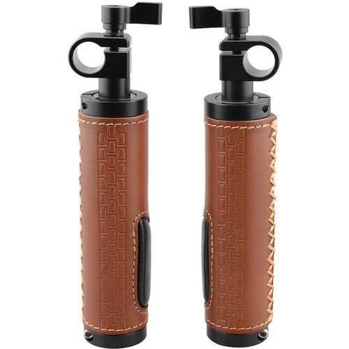CAMVATE 15mm Rod Clamp Leather Handle Grip for DSLR Camera Rod System (2-Pack)