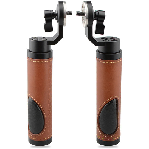 CAMVATE Leather Handgrip with ARRI-Style Rosette (2-Pack, Brown)