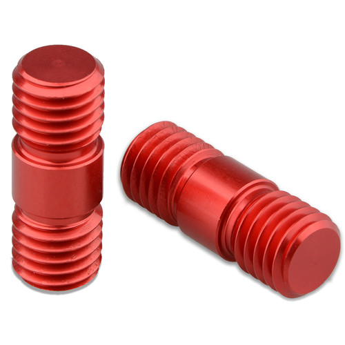 CAMVATE 15mm Rod Connector with M12 Threads (Red, 2-Pack)