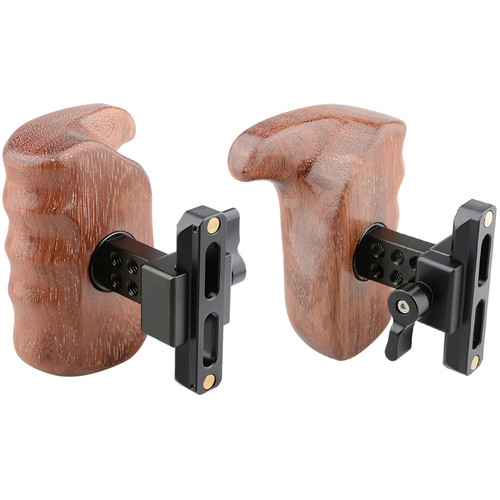 CAMVATE Quick Release Left & Right Hand Wood Handle Grip for Select DV and DSLR Camera Cages (Bubinga)