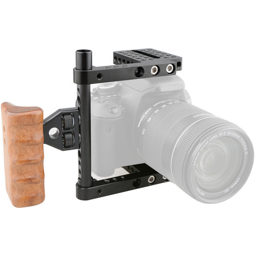 CAMVATE Camera Cage with Wood Handle for Select DSLRs (Right-Sided)