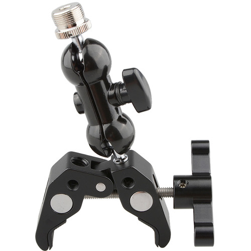 """CAMVATE Crab Clamp with 5/8""""-27 Mini Ball Head for Microphones (Black T-Handle)"""