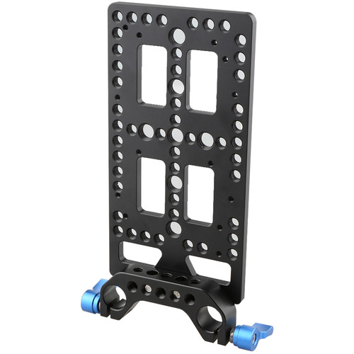 CAMVATE Multipurpose Cheese-Style Mounting Plate with 15mm Rod Block (Blue Levers)