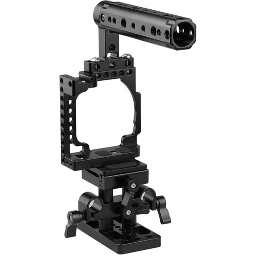 CAMVATE Camera Cage with Cheese Handle & Quick Release Baseplate for a6500/a6300/a6000