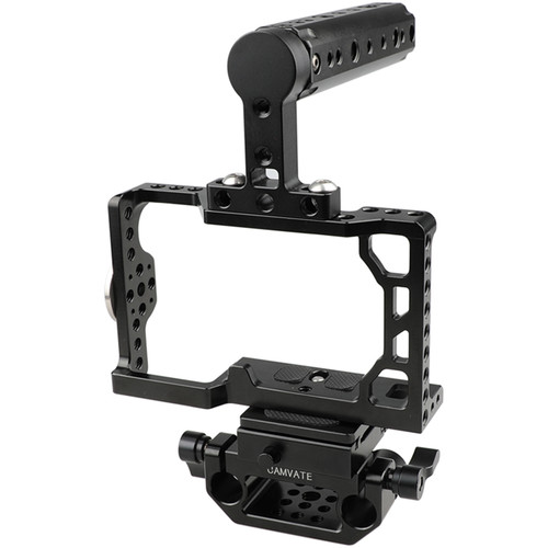 CAMVATE Camera Cage with Cheese Handle, ARRI Rosette & QR Baseplate for Sony a6500