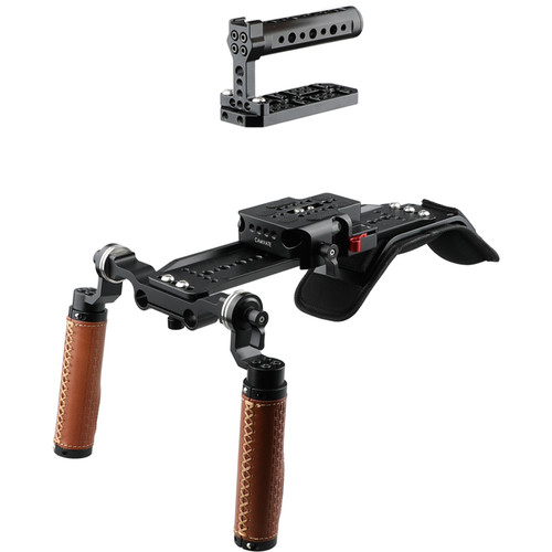 CAMVATE Shoulder Rig Handle Kit with Cold Shoe Top Handle for Select Camera