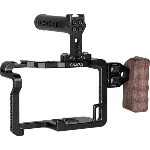 CAMVATE Full Cage Rig Kit with Wooden Left-Side Handgrip for Panasonic GH5 Camera