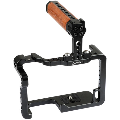 CAMVATE Cage Kit With Wood Top Handle And Shoe Mounts For Panasonic Lumix GH5