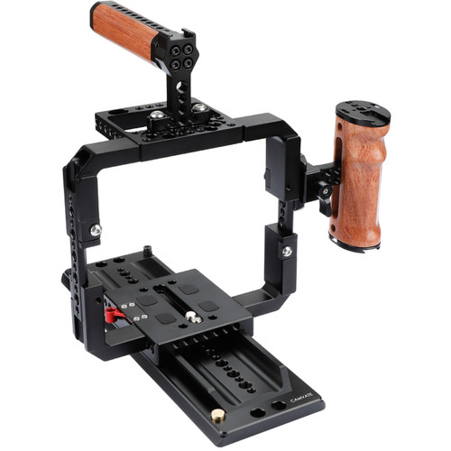 CAMVATE Cage Rig With And ARRI Dovetail Plate For Red DSMC2 Cameras (Wooden Nato Grip And Top Handle)