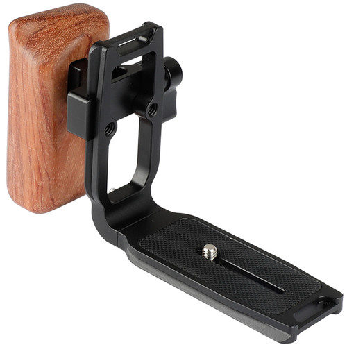CAMVATE Arca-Type Quick Release L-Plate with Left-Handed Wooden Handgrip