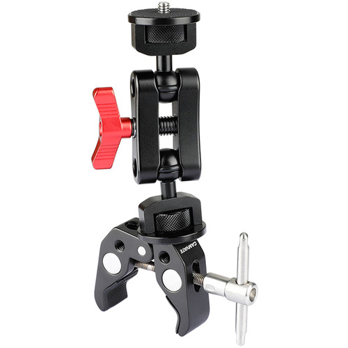 """CAMVATE Super Clamp & Arm with Dual 1/4""""-20 Knob Ball Heads & T-Handle"""