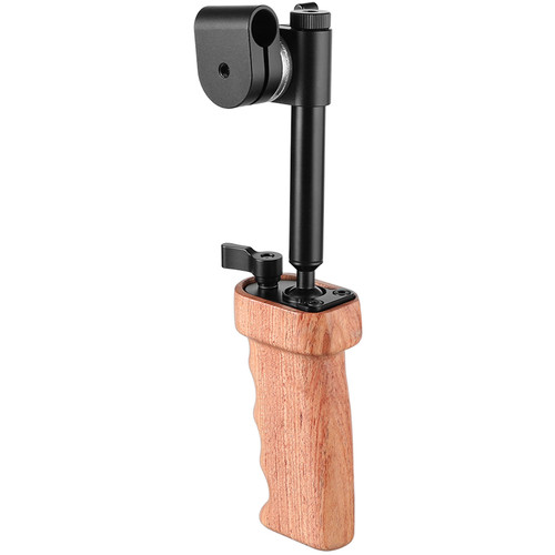 CAMVATE Wooden Handgrip With Built-in Ball Head Connection And 15mm Double Rod Clamp For Camera Cage Kit (Ei