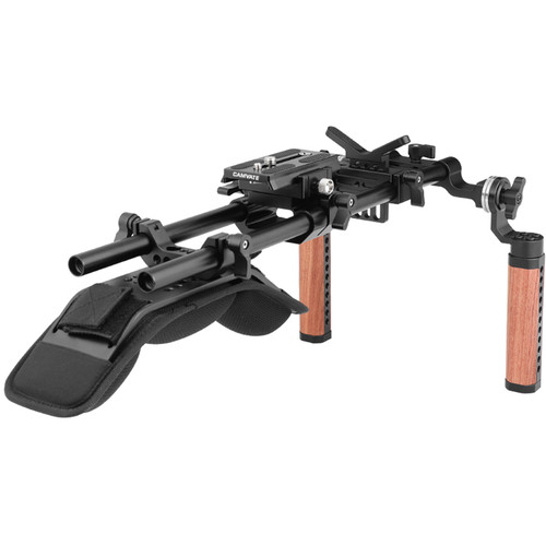 CAMVATE Pro Shoulder Rig with Manfrotto QR Plate, Wooden Handgrips & Lens Support