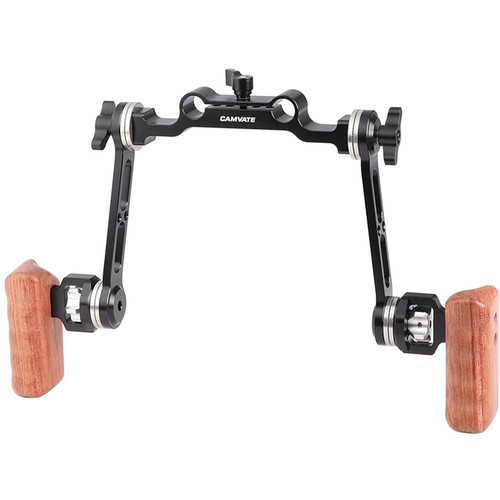 CAMVATE Dual Wood Handgrips with Rosette Extension Arms and 15mm Rod Clamp