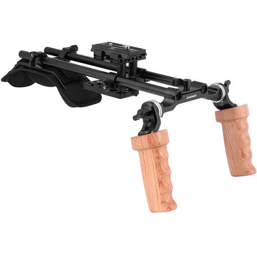 CAMVATE Pro Shoulder Support Rig with Manfrotto Plate & Dual Wooden Handgrips