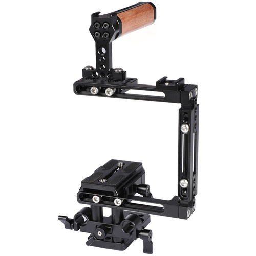 CAMVATE Adjustable Cage Kit With Manfrotto-Style Plate, 15mm Railblock Base And Wood Top Handle