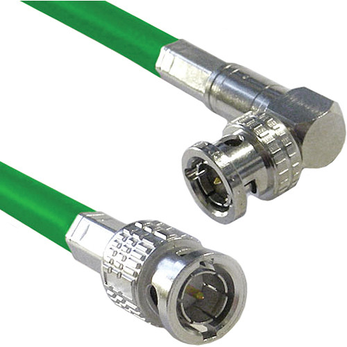 Canare Male to Right Angle Male HD-SDI Video Cable (Green, 2')