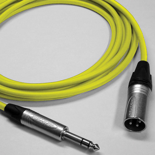 Canare Star Quad 3-Pin XLR Male to 1/4 TRS Male Cable (Yellow, 10')