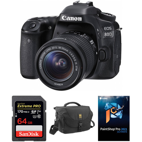 Canon EOS 80D DSLR Camera with 18-55mm Lens and Accessory Kit