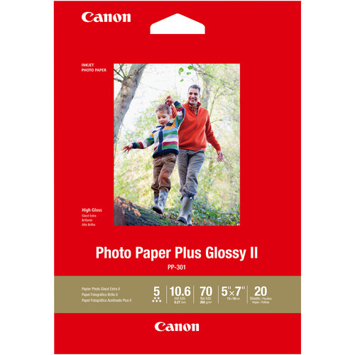 "Canon PP-301 Photo Paper Plus Glossy II (5 x 7"", 20 Sheets)"