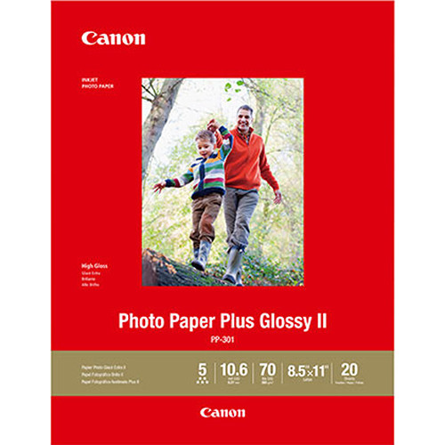 """Canon PP-301 Photo Paper Plus Glossy II (8.5 x 11"""", 20 Sheets)"""