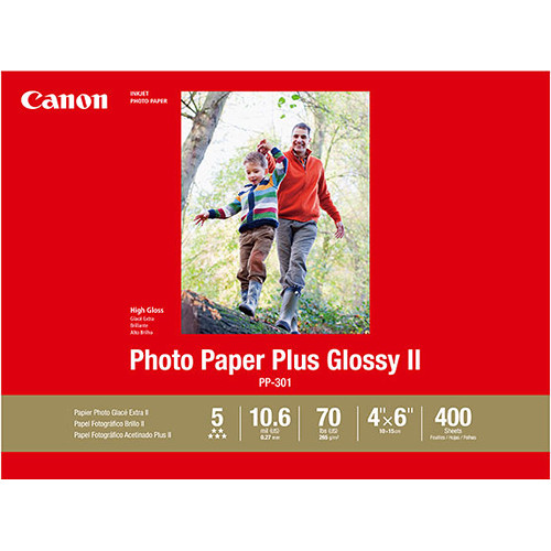"""Canon PP-301 Photo Paper Plus Glossy II (4 x 6"""", 400 Sheets)"""