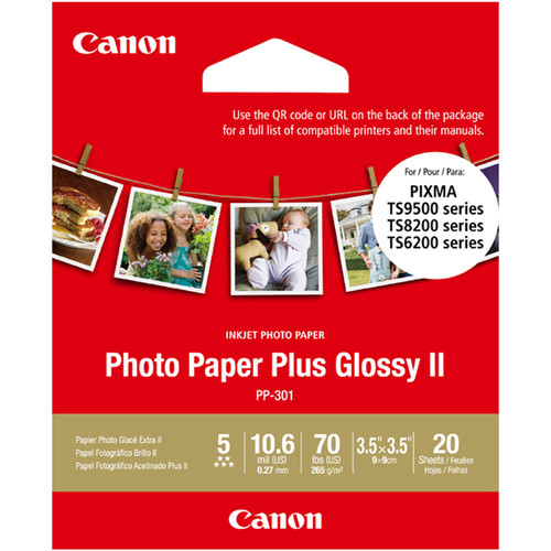 """Canon PP-301 Photo Paper Plus Glossy II (3.5 x 3.5"""", 20 Sheets)"""