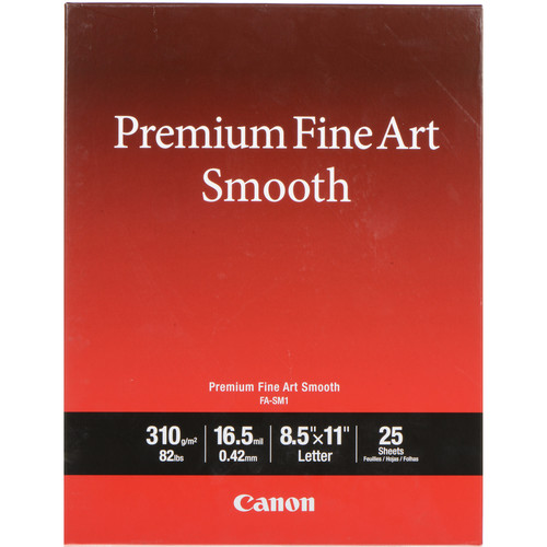 "Canon Premium Fine Art Smooth Paper (8.5 x 11"", 25 Sheets)"