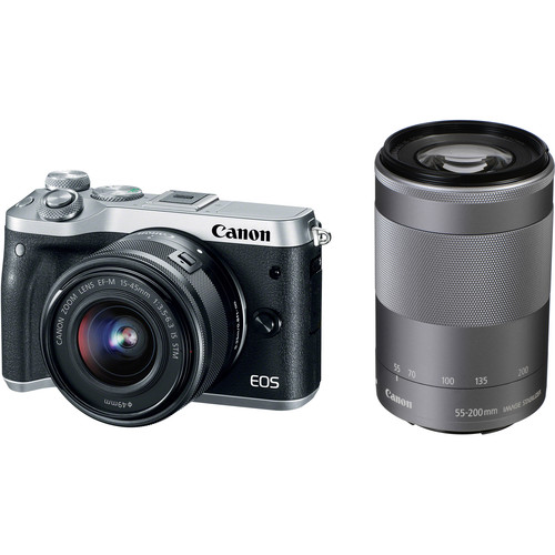 Canon EOS M6 Mirrorless Digital Camera with 15-45mm and 55-200mm Lenses Bundle (Silver)