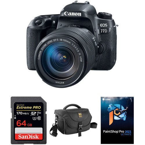 Canon EOS 77D DSLR Camera with 18-135mm USM Lens and Accessory Kit