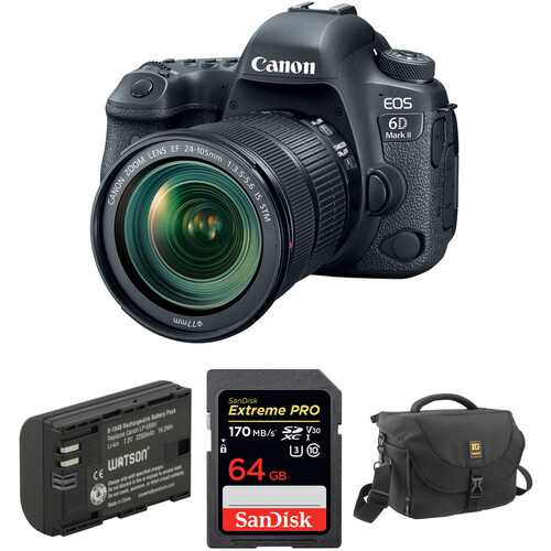 Canon EOS 6D Mark II DSLR Camera with 24-105mm f/3.5-5.6 Lens and Accessory Kit