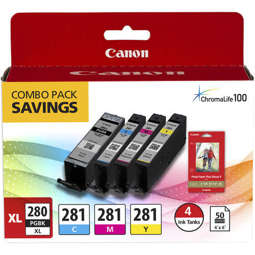 """Canon PGI-280 XL / CLI-281 4-Color Ink Tank Combo Pack with 4 x 6"""" Photo Paper"""