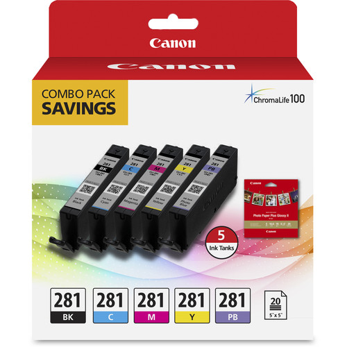 "Canon CLI-281 5-Color Ink Tank Combo Pack with 5 x 5"" Photo Paper"