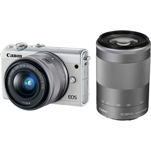 Canon EOS M100 Mirrorless Digital Camera with 15-45mm and 55-200mm Lenses (White)