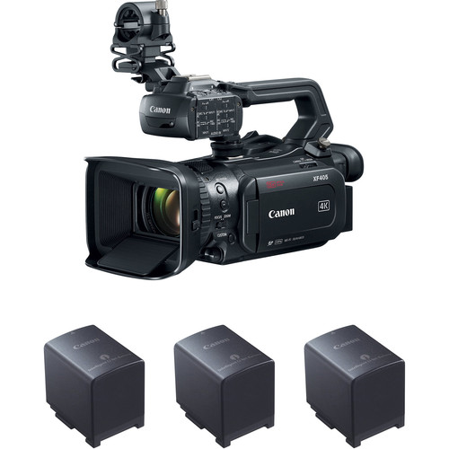 Canon XF405 Camcorder Kit with 3 Batteries