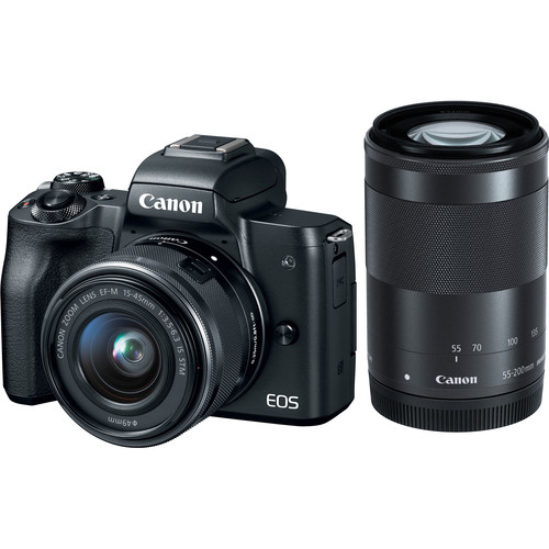 Canon EOS M50 Mirrorless Digital Camera with 15-45mm and 55-200mm Lenses (Black)