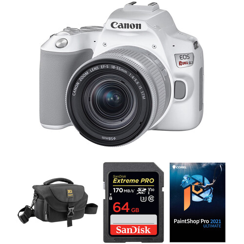 Canon EOS Rebel SL3 DSLR Camera with 18-55mm Lens and Accessory Kit (White)
