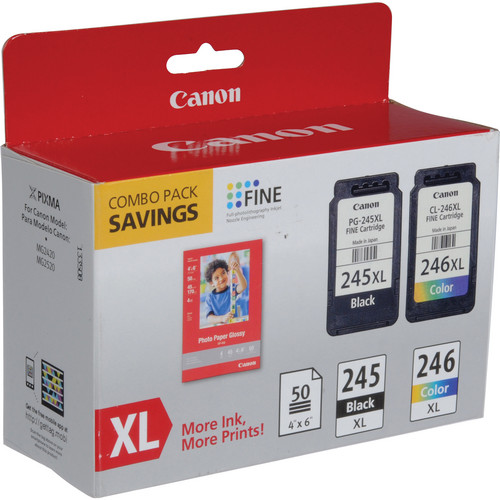Canon PG-245XL / CL-246XL Ink Cartridge Combo Pack with GP-502 Photo Paper