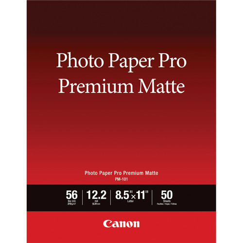 "Canon PM-101 Photo Paper Pro Premium Matte (8.5 x 11"", 50 Sheets)"