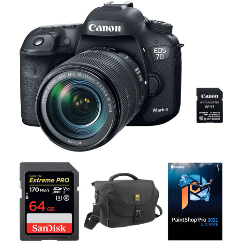 Canon EOS 7D Mark II DSLR Camera with 18-135mm f/3.5-5.6 IS USM Lens, W-E1 Wi-Fi Adapter, and Accessory Kit