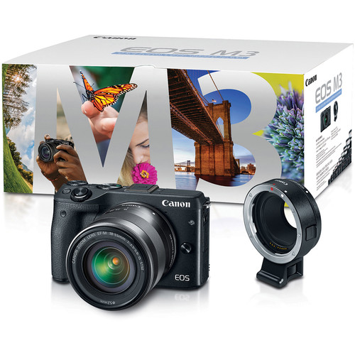 Canon EOS M3 Mirrorless Digital Camera with 18-55mm Lens & EF-M Lens Adapter Kit (Black)