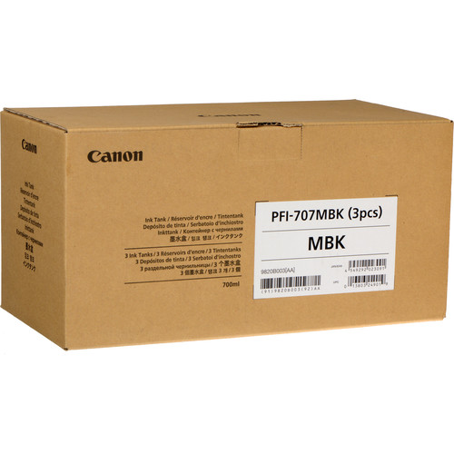 Canon PFI-707MBK Matte Black Ink Cartridge (700 mL, 3-Pack)