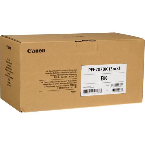 Canon PFI-707BK Black Ink Cartridge (700 mL, 3-Pack)