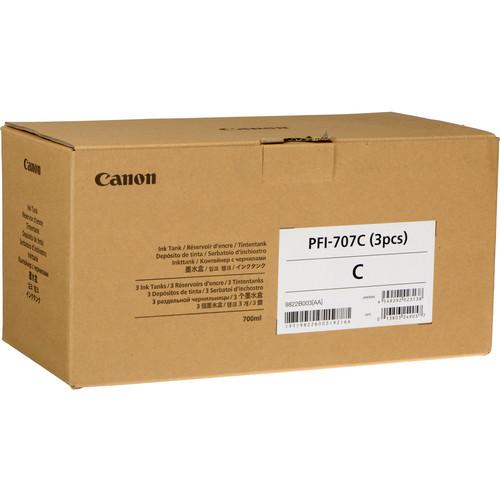 Canon PFI-707C Cyan Ink Cartridge (700 mL, 3-Pack)
