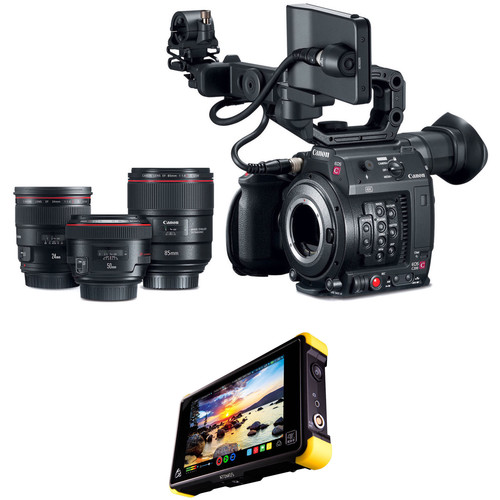 Canon C200 EF with EVF, Accessories, 3 Prime Lenses, and Shogun Flame Kit