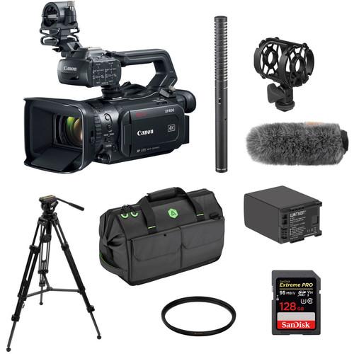 Canon XF400 UHD 4K60p Camcorder Kit with Tripod, Shotgun Mic, Windscreen & Case