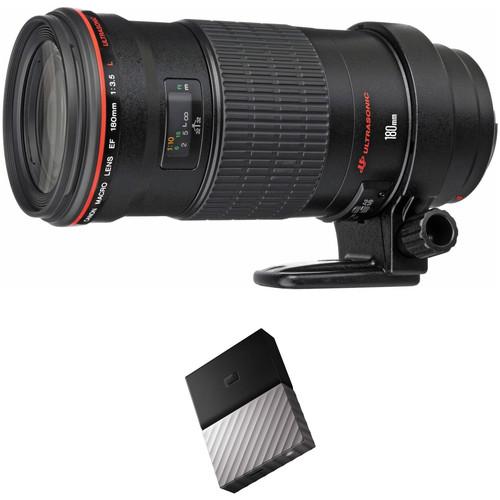 Canon EF 180mm f/3.5L Macro USM Lens with External Hard Drive Kit