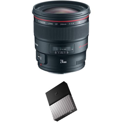 Canon EF 24mm f/1.4L II USM Lens with External Hard Drive Kit