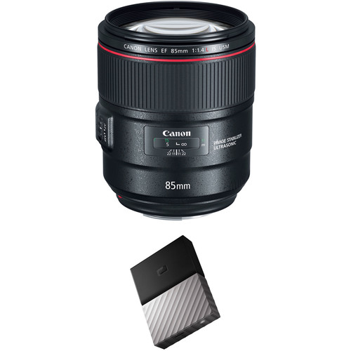 Canon EF 85mm f/1.4L IS USM Lens with External Hard Drive Kit